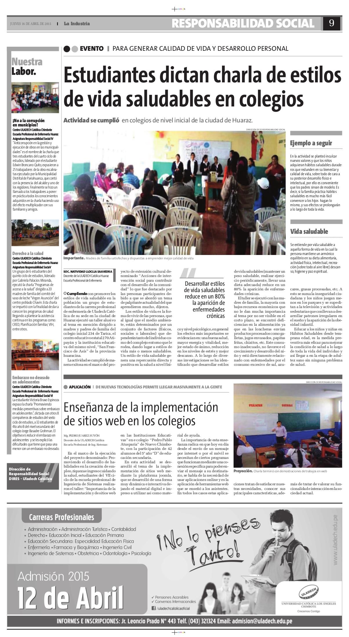 16-04-2015_La Industria_Enfermeria-Huaraz_Chim Sistemas