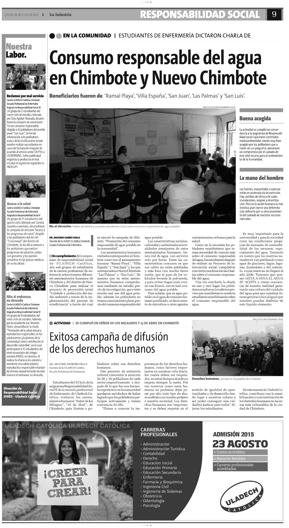30-07-2015_La Industria_Enfermeria_Chimbote ok